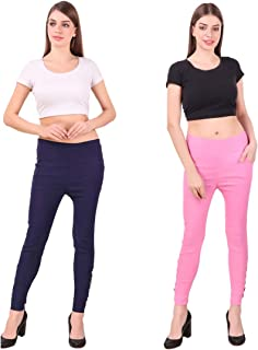 KIBA RETAIL Women's Designer Ankle Plain Jegging Comfortable and Stretchable Casual Wear Jegging, Combo (Pack-2)