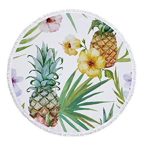 WYJW Ronde handdoek bedrukt strand/badhanddoek/strand mat/behang/tafelkleed thuis franje polyester door 'Cartoon Ananas, A2, 150 * 150cm 150x150cm A4
