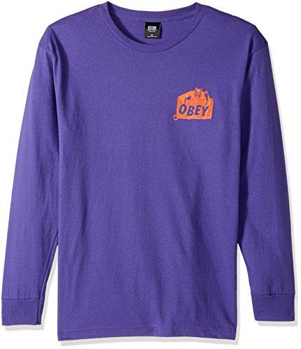 Obey Herren T-Shirt Devil, Normale Passform, langärmelig - Violett - XX-Large