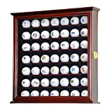 YEAS 49 Golf Ball Display Case Cabinet Wall Rack Holder w/98% UV Protection Lockable Brown