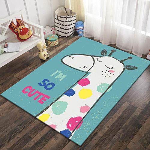 CQIIKJ Alfombra Estampada Jirafa Animal de Dibujos Animados Rosa Blanco Azul Alfombra Antideslizante Lana Corta de poliéster 120 x 170 cm Adecuado para la decoración Salón Comedor Dormitorio