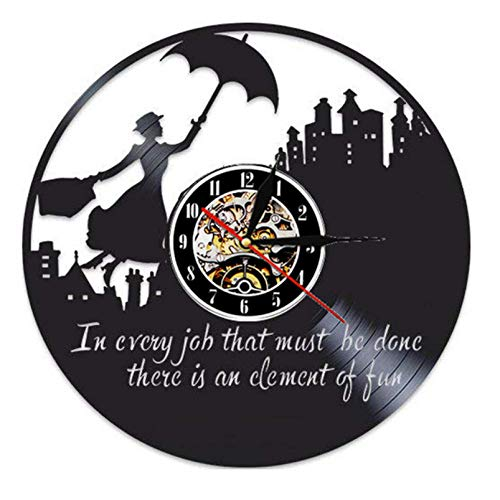 Bawangbieji Schönheit mit Regenschirm Wanduhr aus Vinyl Schallplattenuhr Upcycling Schallplatte Uhr Retro Uhren Vintage Leise Hängelampe Quarzuhr Wanduhren Handmade-30cm(12inch)