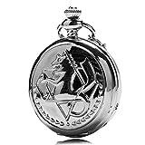J-Love Antiguo Estilo Steampunk Dibujos Animados Fullmetal Alchemist Reloj Cuarzo Collar Color Plateado Colgante Reloj Bolsillo