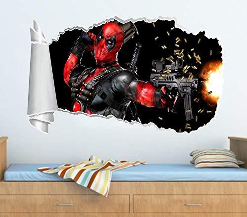 Pegatinas de pared Hero Personaje Juego Trono 3D Agujero rasgado Etiqueta de la pared rasgada Calcomanía Arte