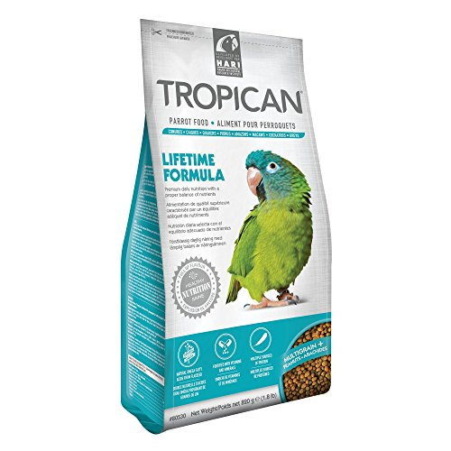 Tropican Lifetime Maintenance Parrot Granules, Completely Balanced & Flavorful Maintenance Diet, 1.8 lb Standup Air Barrier Zipper Bag