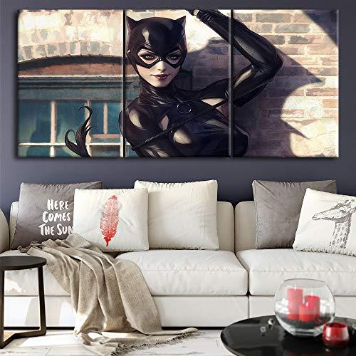 YGKDM Leinwand Malerei Hause Dekorative 3 Stück Catwoman Bilder Moderne Gedruckt Charakter Poster Für Wohnzimmer Wand Kunstwerk Rahmen 35 cm x 50 cm x 3 stücke Rahmen