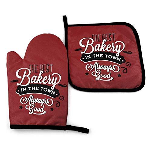 Los mejores guantes de horno de panadería, agarradera y guante de horno con resistente al calor para cocina, cocina, cocina, microondas, antideslizante, para hornear a la parrilla