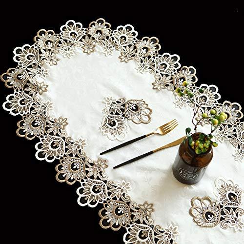 CHEEKQ Tischläufer Ovaler Spitzentischläufer mit Durchbrochener Stickerei, Moderne Vertraglich Vereinbarte Tischdecke für Familienessen, Hochzeit, Geburtstag, Besondere Anlässe