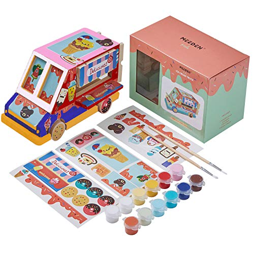 MEEDEN Wood Craft Kit for Kids,Acylic Painting Set for Kids,Wood Arts and Crafts for Painting,DIY Wood Craft Ice Cream Car with Painting Set,Great for Kids,Adults,Teens,Students