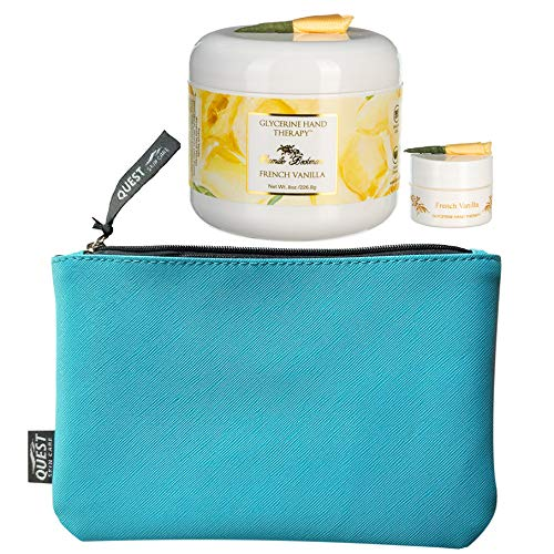 Camille Beckman Glycerine Hand Therapy, French Vanilla 8 Ounce With Refillable Purse Size Hand Cream (.25 oz) & FREE Quest Skin Care Make-up Bag (8'L x 5'H)