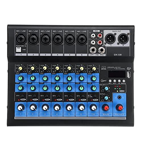WanuigH Audio-mixer 8-kanaals 48V Bluetooth digitale microfoon geluid mengconsole versterker eenvoudige bewaking en…