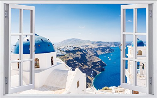 DesFoli Griechenland 3D Look Wandtattoo 70 x 115 cm Wanddurchbruch Wandbild Sticker Aufkleber F462