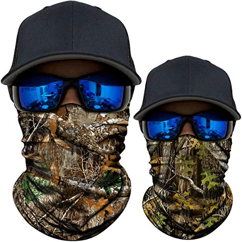 AXBXCX 2 Pack - Camouflage Print Seamless Neck Gaiter Bandana Face Mask Headband Headwear Scarf for Fishing Hiking Hunting Cycling Motorcycle Riding Skiing Outdoor Sport 06566