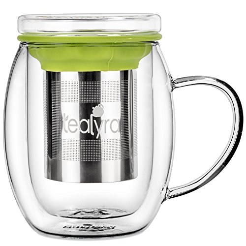 Tealyra - Venus 400ml - Tea Cup Infuser - Double Wall Glass Tea Cup...