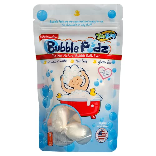 TruKid Bubble Podz for Baby, Refreshing Bubble Bath for Sensitive & Soft Silky Skin, Tear Free Bath Bubbles, Enriched with Watermelon, Watermelon Scented, All Natural Ingredients (8 Podz)