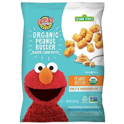 Earth's Best Organic Baked Corn Puffs, Peanut Butter, 2.5 Oz (Pack of 6)