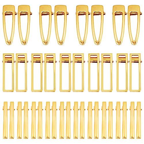 50 Stück Alligator-Haarspangen aus Metall, flache Haarspangen für DIY-Haarnadeln, Guss-Zubehör, goldene Entenschnabel-Haarspangen für die Herstellung von Acryl-Harz-Haarspangen, 3 Stile