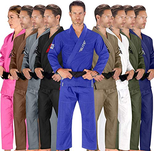 Elite Sports BJJ GI for Men IBJJF Kimono BJJ Jiujitsu GIS W/Preshrunk Fabric & Free Belt (See Special Sizing Guide) (Premium Blue, Size 1)
