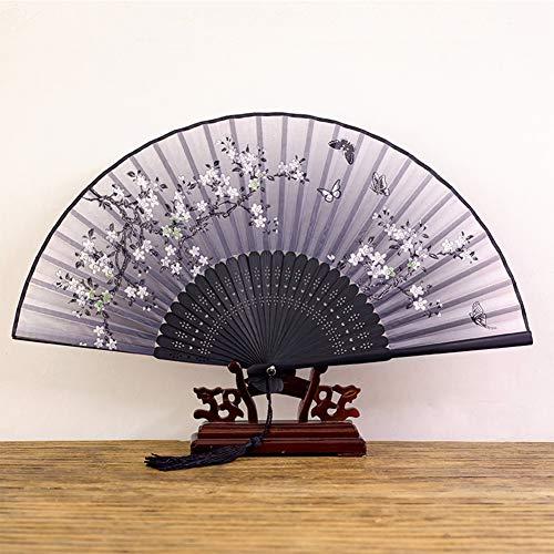 ZQNHXY Folding Handventilator für Frauen, Chinese/Japanese Vintage Retro-Stil - mit einem Stoff-Hülle für Schutz,8