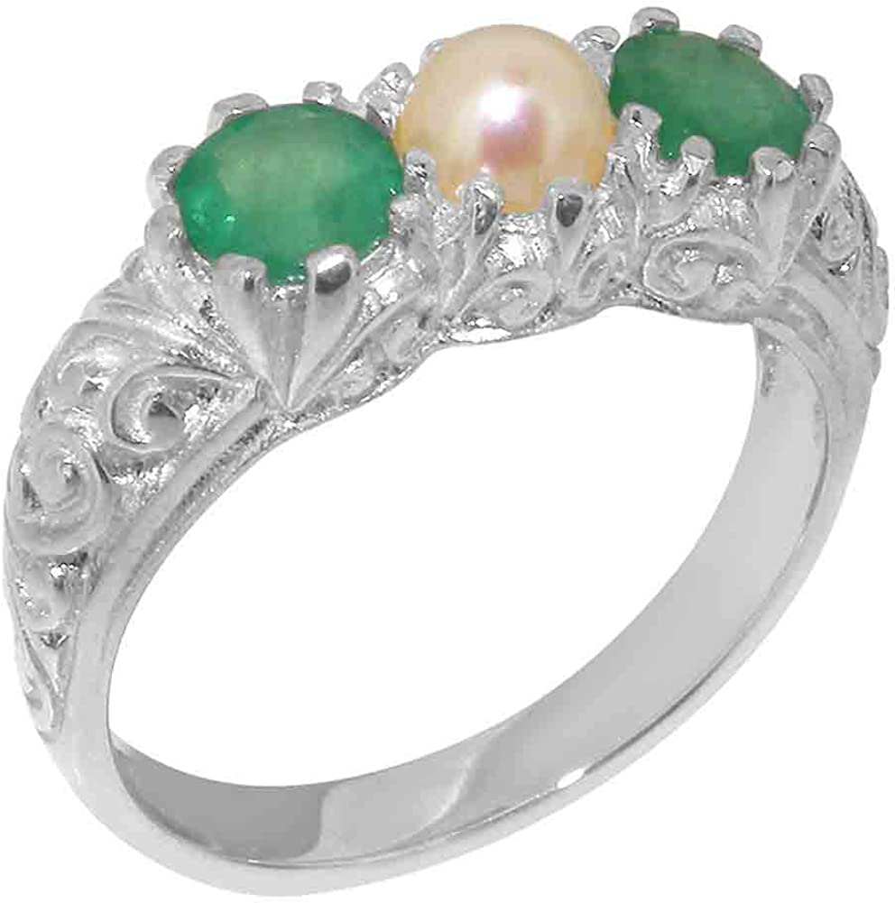 14k White Gold Cultured Pearl & Emerald Womens Trilogy ring - Sizes 4 to 12 Available