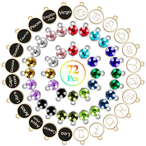 72 Pieces Constellations with Birthday Stone Zodiac Charms, Include 24 Zodiac Charm Round Enamel Metal Charms 48 Pieces 12 Colors Crystal Birthstone Charms for Necklace Bracelet Jewelry Making