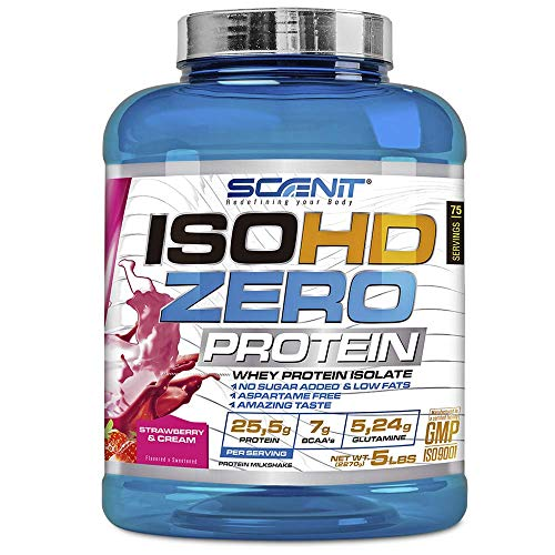 ISOHD Zero Protein - 100% proteína de suero de leche aislada, proteína en polvo con aminoácidos para el desarrollo muscular - 2,27 kg (Fresa con nata)