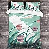 Juego de ropa de cama de 3 piezas de 218 x 177 cm, diseño de conejo, juego de ropa de cama portátil y colecciones con 2 fundas de almohada cuadradas clásicas para dormitorio de los hombres