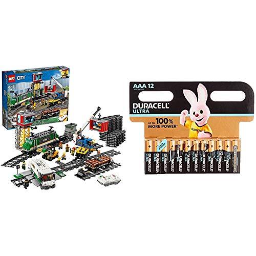 LEGOCity Güterzug (60198) Kinderspielzeug + Duracell Ultra AAA Micro Alkaline Batterien LR03, 12er Pack