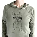 Inkopious Aviator Puppy Pierre The French Bulldog - Unisex Loopback Terry Hooded Sweatshirt -Olive Small