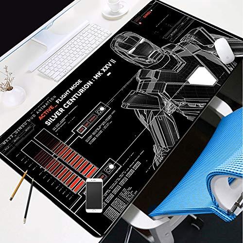 Zenghh Extendido del juego alfombrilla de ratón grande 31.4x11.8in DC Marvel foto de familia con Iron Man animado teclado del cojín del gel suave de goma alfombra antideslizante de bloqueo de última g