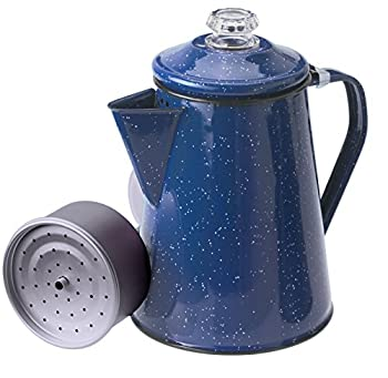 GSI Outdoors 12 Cup Enamelware Percolator Coffee Pot for Campsite Cabin RV Kitchen Groups Backpacking  Blue