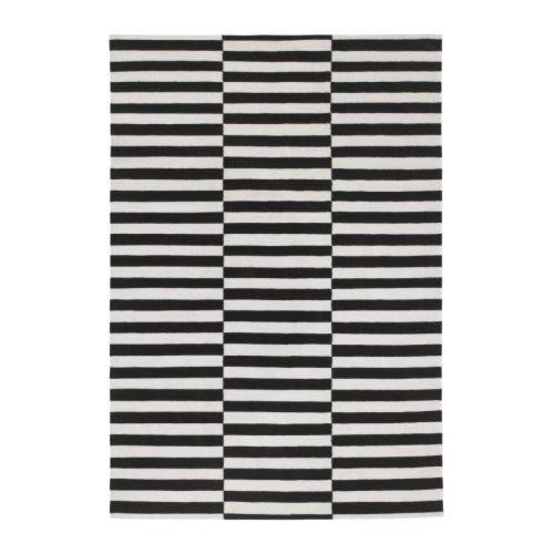 IKEA sTOCKHOLM-rug, flatwoven black striped off-black, white - 170 x 240 cm