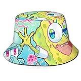 Spongebob Pintado a Mano Bucket Sun Hat para Hombres Mujeres -Protección Gorra de Pescador de Verano Empacable para Pesca, Safari, Paseos en Bote en la Playa Negro