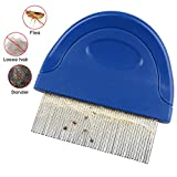 Pet Dog Cat Flea Comb, Pet Flea and Tick Prevention for Dogs, Stainless Steel Long Teeth with Plastic Handle...