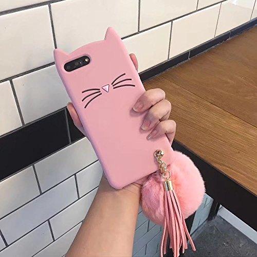 SevenPanda Cartoon Hülle für iPhone 11, iPhone 11 Premium Ultra Dünne Silikon Stoßfeste Schutzhülle Nette Katzen Ohren Gel Stoßdämpfer Handyhülle Rückseitige Abdeckung Mit Haar Ball Quaste - Rosa