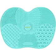 Silicone Makeup Brush Cleaning Mat, Makeup Brush Cleaner,Makeup Brush Cleaner Pad,Cosmetic Brush Cleaning Mat Portable Washing Tool Scrubber with Suction Cup (Mint Green)