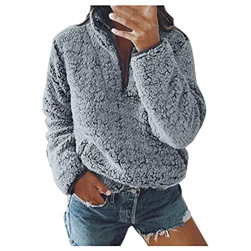 DRAGONHOO tunic tops blouse Henley Pullover shirt Women Sweatshirt Coat Winter Warm Artificial Wool Zipper Pockets Cotton Coat Outwear tunic tops blouse Henley Pullover shirt Gray S