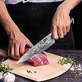 SHAN ZU Damastmesser Kochmesser 67 Schichten Damaststahl Küchenmesser mit G10 Griff 20cm - PRO Series - 5