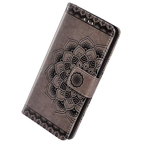 Herbests Kompatibel mit Samsung Galaxy A20e Hülle Schutzhülle Leder Hülle Retro Mandala Blumen Muster Handyhülle Tasche Klapphülle Wallet Flip Case Magnet Ständer Kartenfächer,Grau