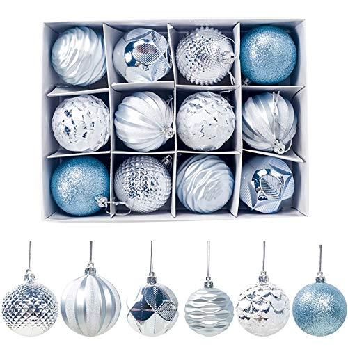 Sunsbell 12 Piezas de Bolas de Navidad Decoración Navideña para Árbol de Navidad/Decoración del Hogar/Boda/Cumpleaños/Fiesta/Caja de Regalo Etc. Azul-60Mm