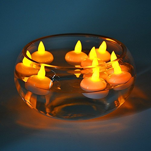 LED Floating Candles, 12PCs Waterproof Flameless Candles Battery Operated Flickering Floating Tea Lights for Wedding Christmas, Halloween, Birthday Parties, Bath, Spa, Pool, Pond ect. yellow light