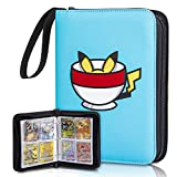 CloverCat 4 Pocket Trading Card Binder - Compatible with Pokemon Cards - Baby Blue - Portable Storage Case with Protective Sheets - Holds Up to 400 Cards