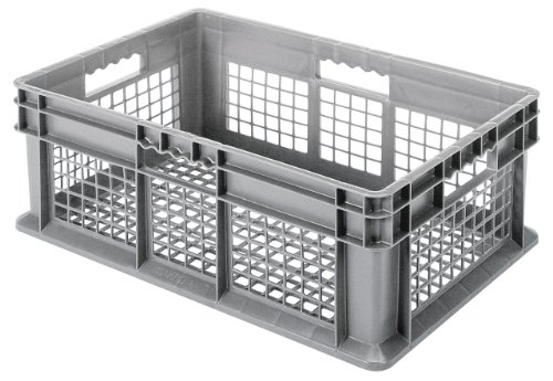Akro-Mils 37608 Plastic Straight Wall Container Tote with Mesh Sides and Mesh Base, (24-Inch x 16-Inch x 8-Inch), Gray, (4-Pack)