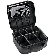VASKER Makeup Case Travel Makeup Bags Organizer for Women Professional Leather Cosmetic Bag Train Case Box Storage Black Portable Brush Holder with Adjustable Divider Gift for Girl Women