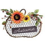 WWWL Decoración de otoño, DIRIGIÓ Autumn Pumpkin Girasol con luz de Madera Simulación Simulación Guirnalda Colgante Cosecha Día Halloween Home Puerta Decoración Colgante (Color : 1)