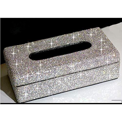LANKOULI Tissue Box Crystals Tissue Case Papierbox für zu Hause Tissue Holder AutoTissue Box Tissue Serviettenbox für zu Hause