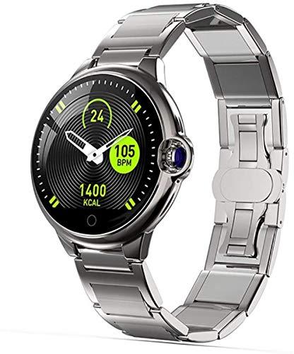 Reloj inteligente con espejo de zafiro de 2,5 mm, 13 mm de grosor, IP67, resistente al agua, con recordatorio de llamadas Bluetooth, compatible con iOS y Android de acero plateado.