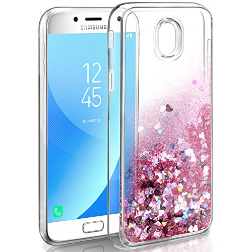 Cover Samsung Galaxy J5 2017 Custodia, Leathlux Cover j5 2017 Glitter Liquido Fit Girls Women Slim Trasparente Silicone Protettiva Telefono Custodia Cover per Samsung Galaxy J5 2017 Rose Gold