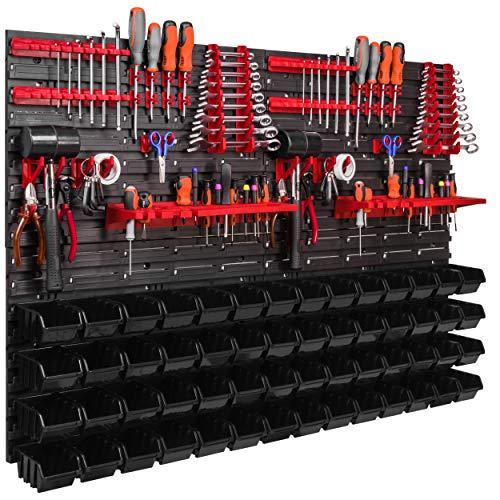 Lagersystem Wandregal 1152 x 780 mm, Werkzeughalterungen, Stapelboxen Schüttenregal Sichtlagerkästen, Extra fuerte Wandplatten, Regal erweiterbar