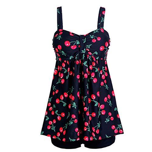 GOTIMAL Damen Zweiteiliger Tankini Drucken Blumen Bademode Badeanzug mit Hot Pants #P2 M